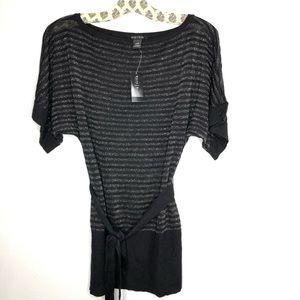 NWT WHBM black stripe short sleeve sweater sizeXXS